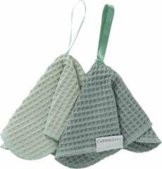 CottonBaby Speendoekje wafel per set van 2 oudgroen/mintgroen