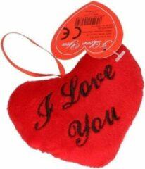 Rode Pluche I Love You hartjes kussentje 10 cm - Valentijnsdag versiering cadeau artikelen