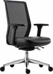 BenS 837Exe-Synchro-4 Luxe ergonomische Arbo bureaustoel met lederen zitting, Synchrotention mechaniek en een gepolijst aluminium voetenkruis Voldoet aan EN1335 en Arbo - norm Zwart