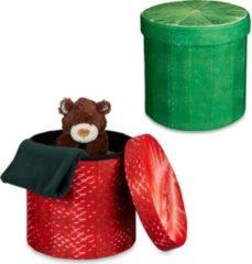 Relaxdays 2x Sitzhocker Sitzwürfel Falthocker Klapphocker rund Stauraum Erdbeere Limette
