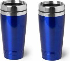 Bellatio Design 3x stuks warmhoudbeker/warm houd beker metallic blauw 450 ml - RVS Isoleerbeker/thermosbekers reisbekers voor onderweg