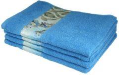 Clé de la Vie Handtuch mit Bordüre, 4er-Set, blau, 50x100cm
