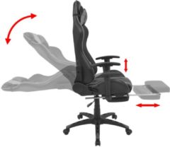 VidaXL Bureau-/gamestoel verstelbaar met voetensteun grijs