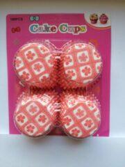 Het Borstelhuis vof Cupcake Vormpjes Papier - Muffin Vormpjes - 100 stuks - Diameter 5 cm - Roze Bloemetjes