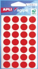 Rode Agipa ronde etiketten in etui diameter 15 mm, rood, 168 stuks, 28 per blad