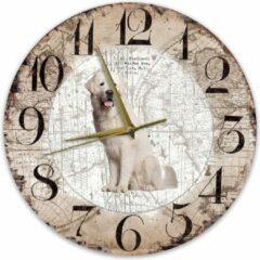 Bruine Creatief Art Houten Klok - 30cm - Hond - Tatrahond