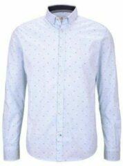 Tom Tailor slim fit overhemd met all over print lichtblauw