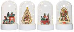 Decoris Kerst stolp glas hout Ø11x18cm warmwit