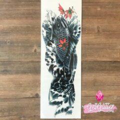 Rode GetGlitterBaby - Plak Tattoo Sleeve / Tijdelijke Tattoos / Nep Tatoeage - Karper