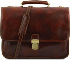 Bruine Tuscany Leather Torino - Leather briefcase 2 compartments