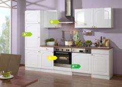 HELD Möbel Küchenzeile Rom 280 cm Hochglanz weiß - inkl. E-Geräte