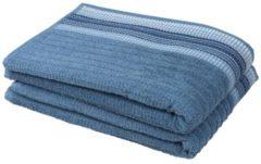 Duschtuch mit bestickter Borde, blau, 2er-Set