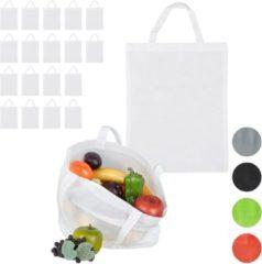 Relaxdays 20 x boodschappentas - stoffen tas - effen gekleurd opvouwbaar - 50x40 - wit