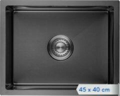 LOMAZOO Spoelbak Zwart / Antraciet (45x40) – Spoelbak Keuken - Spoelbakken Keuken – Wasbak Keuken - RVS [LYNX]