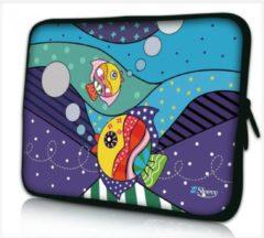 Paarse Sleevy 17.3 laptophoes artistieke visjes - Laptop sleeve - Macbook hoes - beschermhoes