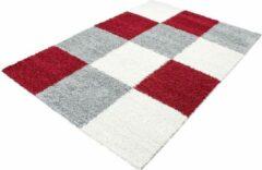 Decor24-AY Hoogpolig vloerkleed Life - rood, beige - wit - 80x250 cm
