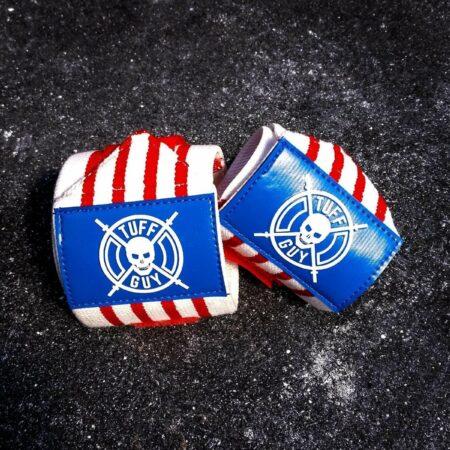 Afbeelding van Rode Tuff Guy Sports Tuff Guy - Professionele Wrist Wraps - Red, White and Blue - Americana - Comfort, Support en Hulp bij Functional Fitness, Bodybuilding, Gewichtheffen en Crossfit