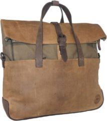 Bruine Leather Design Rugzak / Schoudertas / Handtas Leer met Canvas L