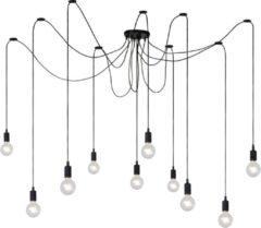 Zwarte Lucide Verstelbare Hanglamp Fix Multiple 10-Lichts L400 x B20 cm - Siliconen Zwart