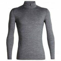 Grijze Icebreaker 200 Oasis Merino ondershirt (lange mouwen, korte rits) - Onderkleding