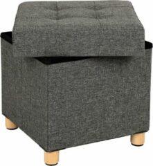 Acaza Opvouwbare Opberg Poef - Voetenbank Met Opbergruimte - Opbergbox Hocker - Zitkist - Donkergrijs - 40 cm Hoog en 38 cm Breed