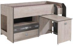 Multifunktionshochbett mit Schreibtisch 'Fabric 9' Parisot Esche-grau