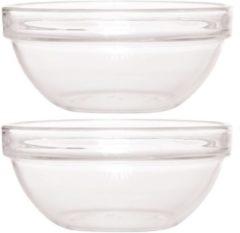 Transparante Luminarc 2x Glazen schaal/kom 23 cm - Sla/salade serveren - Schalen/kommen van glas - Keukenbenodigdheden