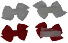 Jessidress Mini Haarclip speciaal voor kleine meisjes Haarstrikje Baby - Wit/Rood