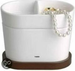 Witte Tiger - Badkamer accessoire setje -Orginizer Sevilla - Keramiek-Hout