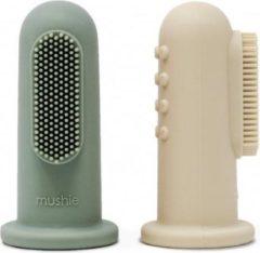 Blauwe Mushie siliconen finger toothbrush | Shifting sand + Cambridge blue | duo set 2 stuks | tandenborstel | BIBS