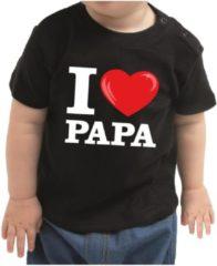 Bellatio Decorations I love papa cadeau t-shirt zwart voor baby / kinderen - jongen / meisje 80 (7-12 maanden)