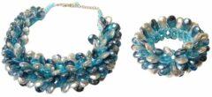 Boodz Statement Ketting en Armband Multiparel Druppel Turquoise Set