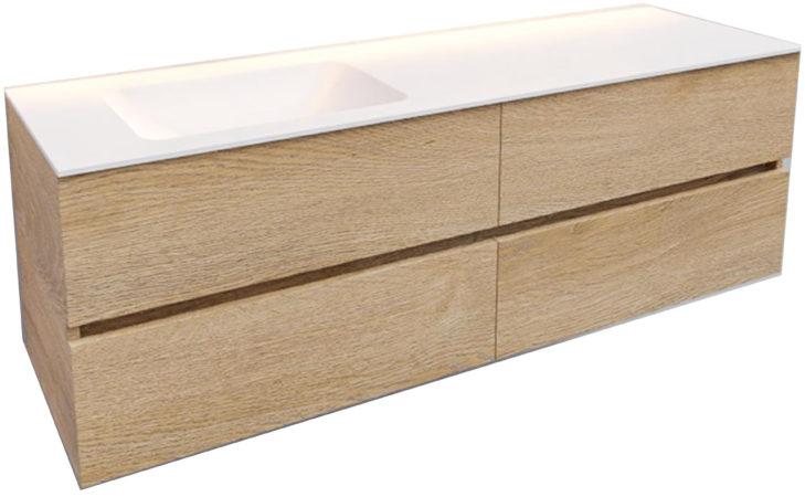 Afbeelding van Boss & Wessing Badkamermeubel Solid Surface BWS Oslo 150x46 cm Links Wood Washed Oak 4 Laden (0 kraangaten)