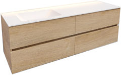 Boss & Wessing Badkamermeubel Solid Surface BWS Oslo 150x46 cm Links Wood Washed Oak 4 Laden (0 kraangaten)
