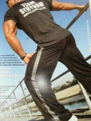 Trenas Strydom Crazee Wear - Fitnessbroek - Monster Mesh - Heren - Maat XXL - Zwart - met licht grijze brede Mesh streep