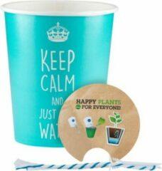 Blauwe WaterWick Set Keep Calm papieren pot (2st)