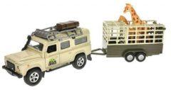 Kids Globe Safariset met Die-Cast Landrover + Aanhanger en 2 Giraffen