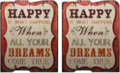 Rode Trendybywave Vintage borden Happy - Wanddecoratie - Set van 2 - 50 cm hoog