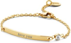 CO88 Collection Inspirational 8CB 90134 Stalen Plaatarmband met Tekst - Love You - Lengte 16 + 3 cm - Rosékleurig