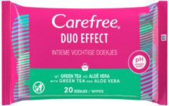 Carefree Duo Effect Intieme Doekjes groen Tea&Aloe 20 stuks
