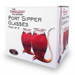 Bar Originale Set van 2 Port Sippers glazen handgeblazen met pijpje