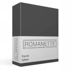 Grijze Romanette Flanellen Laken - 100% Geruwde Flanel-katoen - 1-persoons (150x250 Cm) - Antraciet