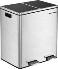 Grijze Acaza Pedaalemmer met 2 Vakken - Prullenbak met dubbel Compartiment - 2 x 30L - Fingerprintproof