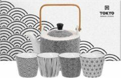 Witte Tokyo Design Studio Nippon Black Theeset stippen – 0.8lt met 4 bekers a 180ML- Lijnen-Sterren-Stippen-Golven
