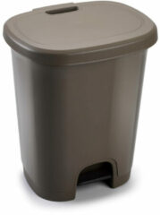 Bruine Forte Plastics Kunststof afvalemmers/vuilnisemmers/pedaalemmers in het taupe van 27 liter met deksel en pedaal. 38 x 32 x 45 cm.