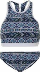 Blauwe La V Dames bikini sport met gevlochten detail - Tribal pattern - L