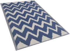 Marineblauwe Buiten-vloerkleed zigzag patroon marine-blauw 120 x 180 cm. SIRSA