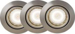 BreLight Honor LED Einbauleuchtenset: 3 Stück schwenkbar eisen/warmweiß