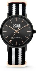 CO88 Collection Watches 8CW 10036 Horloge - Nato Band - Ø 36 mm - Zwart / Wit