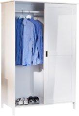 Woody Möbel Kleiderschrank massiv Kiefer weiss lackiert